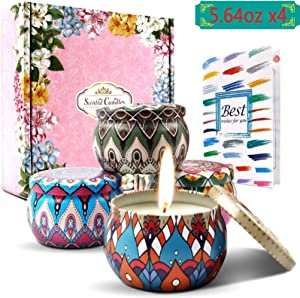 Scented Candles Gift Sets for Women, 4 Pack 5.64OZ Larger Size Home Scented Decor, Upgrade 10% Essential Oils Radiate Stronger Floral, Best Gift Ideas for Mom, Valentine's Day, Yoga, Bath, Sleeping