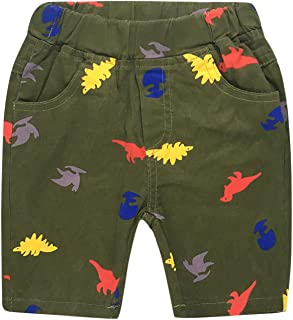 Baby Boys Dinasour Printed Chino Shorts Classic Woven Shorts with Elastic Waist
