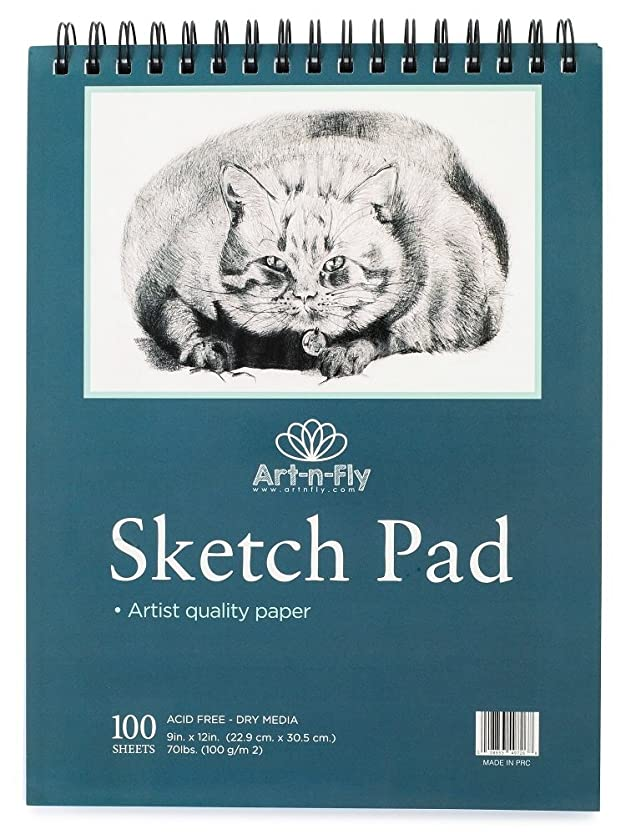 100 Sheets 9x12 Medium Texture Sketchpad for Drawing General Use Spiral Bound Sketch Pad for Pencil Pastel Sketching Sketchbook