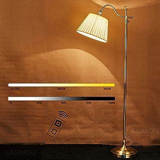 LANMOU Doré Lampadaire Salon, Rétro 12W Lampadaire sur Pied LED Dimmable avec Télécommande, Abat-jour en Tissu Blanc, E27 ...