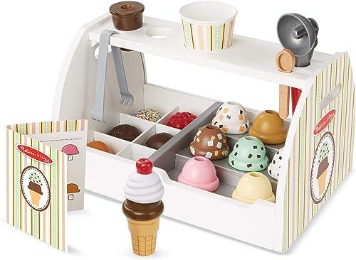 Melissa & Doug - Set de 28 piezas de madera para preparar helados, Wooden Ice Cream Counter (19286) , color/modelo su...
