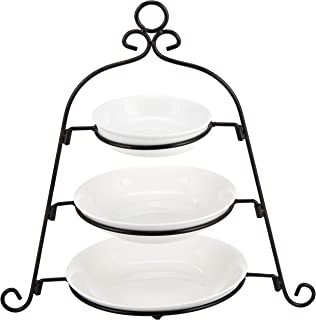 Harmony 2724623280950 4 Pieces Plate with Rack Set, Off-White, Porcelain/Metal