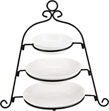 Harmony Porcelain Plate with Metal Rack Set of 4, Off White