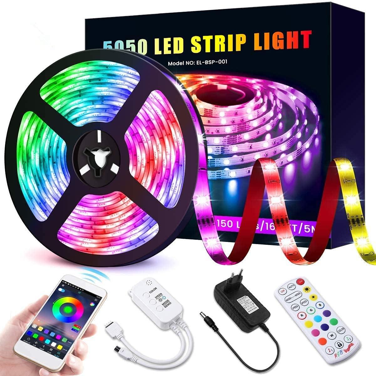 Tira LED 5M, Tiras de Luces LED Bluetooth RGB 5050 Control por APP y Remoto de 24 Teclas Combio de Color de Música Inteligente 12V 2A Kit de Tiras LED para Hogar Dormitorio Fiesta Cocina Bar