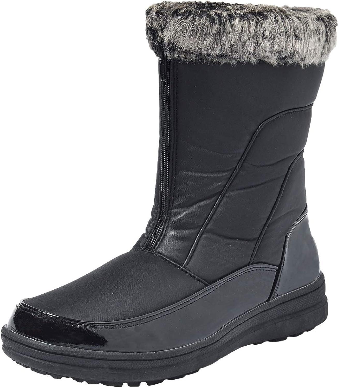 Ausland Women's Zipping Mid-Calf Snow Boots Fur Trim Winter Snow Boots 7628
