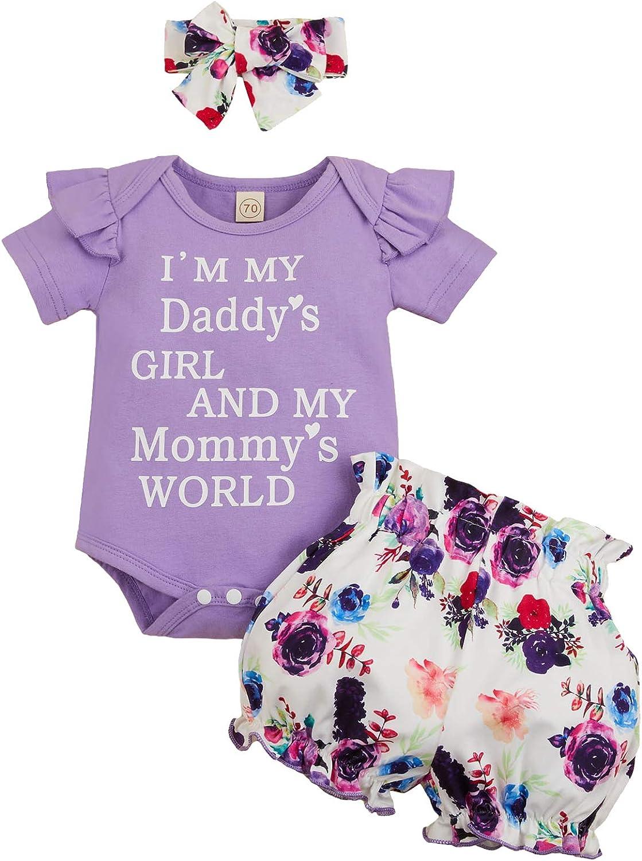 Newborn Baby Girls Clothes Daddy's Girl Mommy's World Romper+Flo