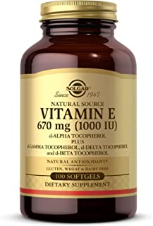 Solgar Vitamin E 670 mg (1000 IU), 100 Mixed Softgels - Natural Antioxidant, Skin & Immune System Support - Naturally-Sour...