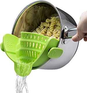Strain Strainer Clip On Silicone Colander Fits All Pots and Bowls Lime Green