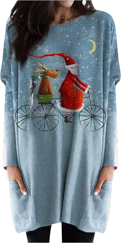 HUIHAIXIANGBAO Womens Christmas Elk Print Pockets Crewneck Shirt Long Sleeves Casual Blouse Pullover Tops