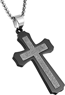 HZMAN Hip Hop Frosted Shiny Cross Necklace Stainless Steel Pendant 22 + 2 Inch Chain