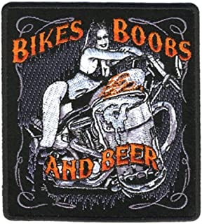 Bikes Boobs and Beer Girl Motorcyle Bike Novelty Embroidered Biker Jacket Patch - Iron on Backing or Sew On