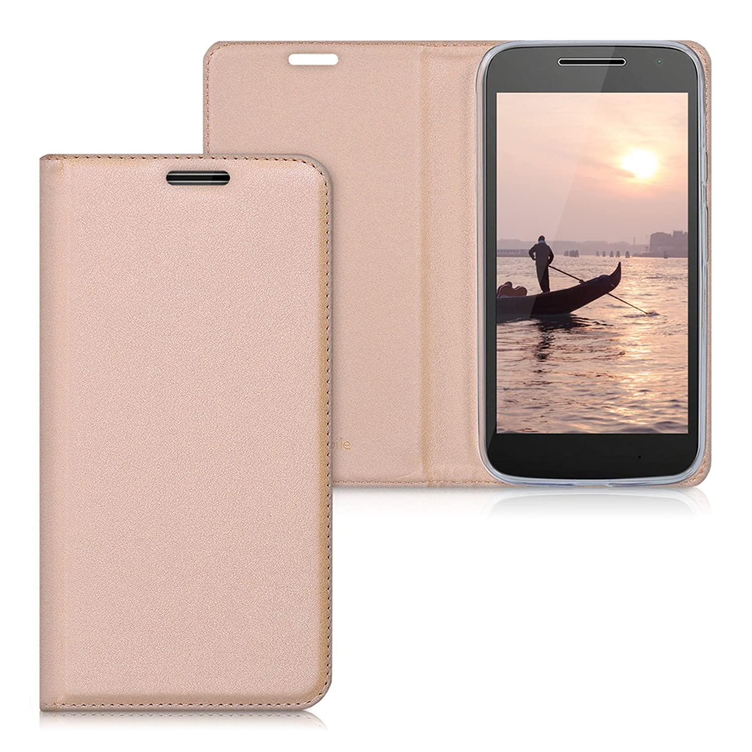 kwmobile Flip Case for Motorola Moto G4 Play - Smooth PU Leather Slim Folio Cover Protective Phone Holder - Rose Gold