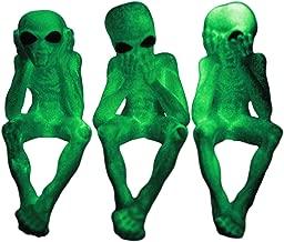 Ebros Glow in The Dark See Hear Speak No Evil Alien Shelf Sitters Set of 3 Extra Terrestrial Creatures Alien Figurines