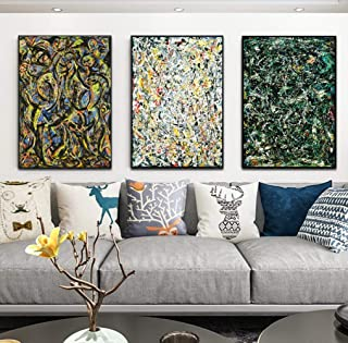 INVIN ART Combo Painting 3 Pieces by Jackson Pollock Framed Canvas Giclee Print Art Abstract Wall Art Series #2(Black Slim Frame,24