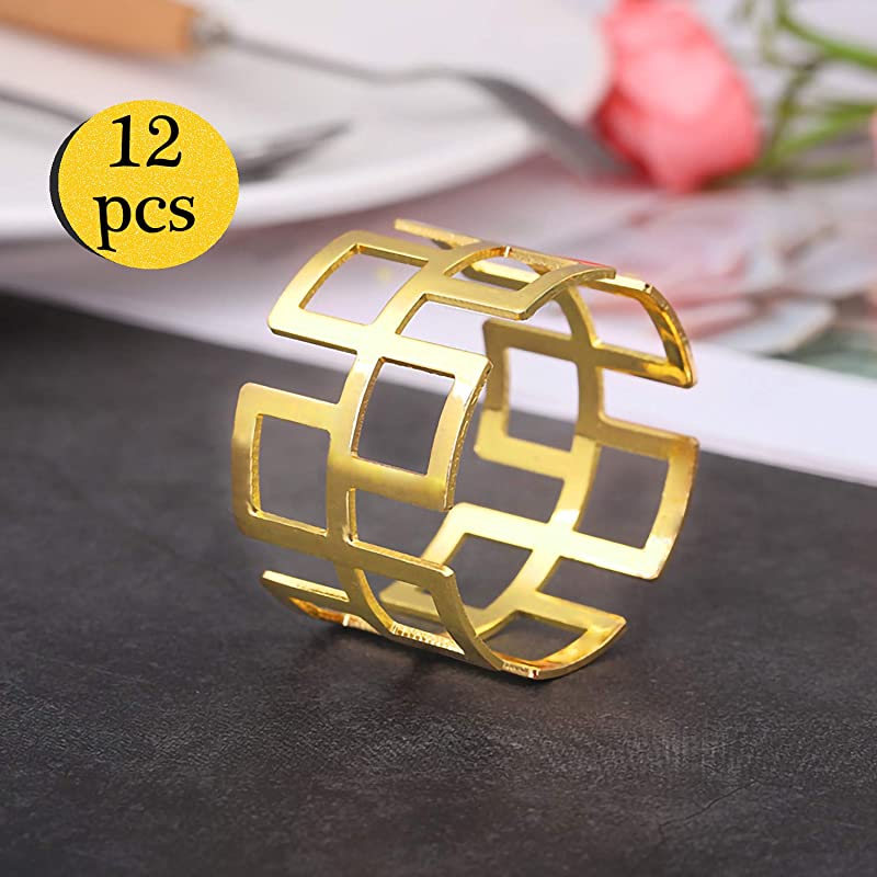 LogHog Golden Napkin Rings Set Of 12 Smooth And Sturdy Zinc Alloy Napkin Holder RingsTable Decorations For Wedding Banquet Birthday Holiday Daily Dinner Party Decor Favor Hollow Out Style 4