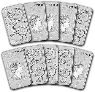 2019 - Present 1oz Silver Bar Australia Perth Mint Lot of (10) Dragon Series Coin $1 Brilliant Uncirculated
