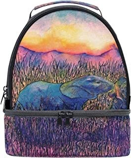 Lunch Box Bag Oil Painting Two Elephants in the Savannah Sunrise Portable Shoulder Double Insulated Tote Outdoor