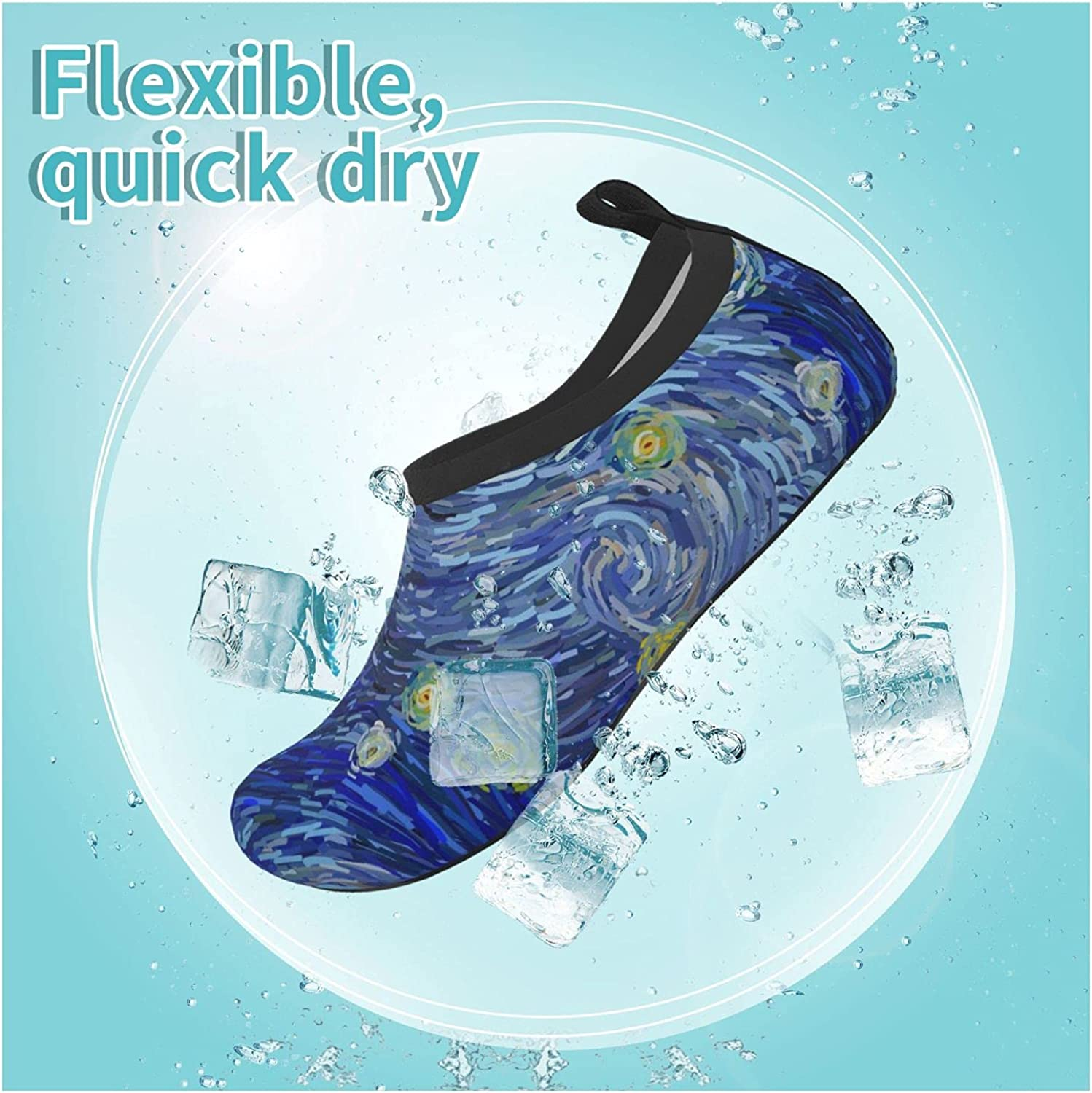 Glowing Moon and Starry Abstract Background Children's Water Shoes Feel Barefoot for Swimming Beach Boating Surfing Yoga