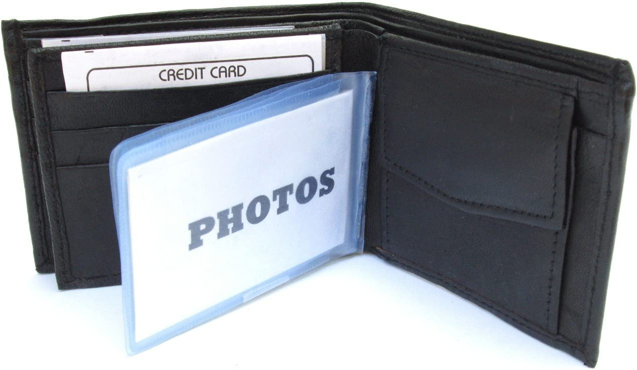 Mens Black Leather Wallet Lamb Bifold W Coin Pouch 756