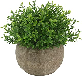 Ogrmar Mini Plastic Artificial Plants Grass in Pot/Small Artificial Faux Greenery/Mini Plants Topiary Shrubs Fake Plants for Bathroom, House Decorations (Green Leaf)
