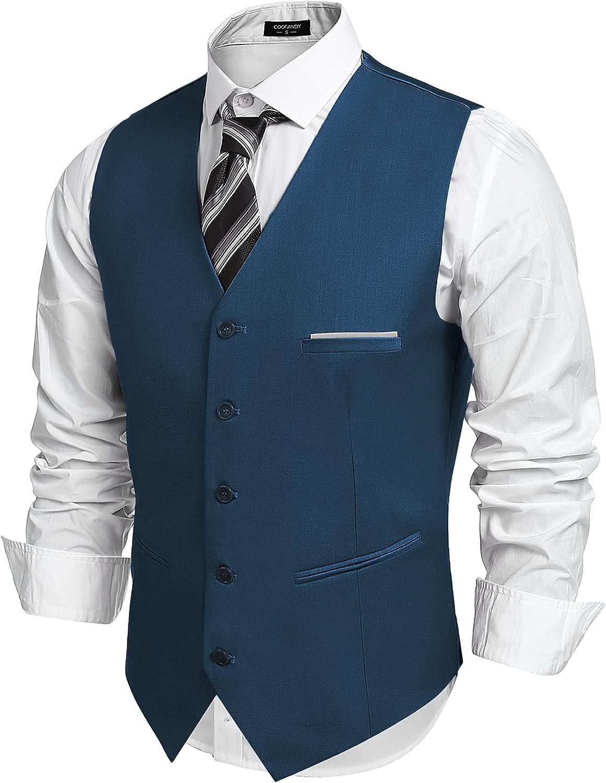 COOFANDY Men's V-Neck Directly managed store Suit Vests Formal trust Fashion Slim Busines Fit