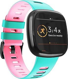 NotoCity Kompatibel med Fitbit Versa 3 rem/Fitbit Sense band för kvinnor och män, mjukt silikon sportrem ersättningsarmban...