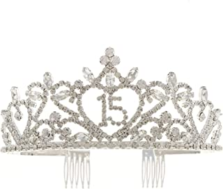 Ella Celebration 15 Tiara 15th Birthday Crown Party Accessories Supplies 15 Crowns for Quinceanera Silver Sweet 15 Tiaras (Tiara) (Silver Crystal)