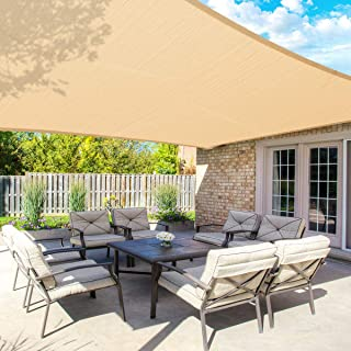 MOVTOTOP Sun Shade Sails 12x16 FT Rectangle, 185 GSM Thicker Outdoor Shade Block 95% UV Keep Cool for Deck, Patio, Pergola...