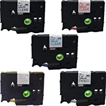 NEOUZA 5PK Compatible for Brother P-Touch Laminated TZe TZ TZe131 TZe132 TZe133 TZe134 TZe135 Label Tape 12mm x 8m (Set of 5 Colors Black Red Gold Blue White on Clear)