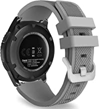 MoKo Band Compatible with Samsung Gear S3 Frontier/Classic/Galaxy Watch 46mm/Huawei Watch GT 46mm/Ticwatch pro/S2/E2, Silicone Sport Strap Fit 22mm Band, Gray