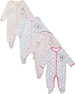 Duck Duck Goose Baby Boys & Girls 4 Pack Cotton Footed Sleep and Play