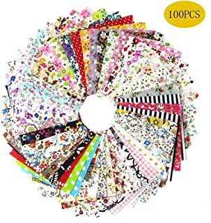100 PCS Cotton Craft Fabric Bundle Squares Patchwork Lint Different Designs 4X 4inches (10cm x 10cm) for DIY Sewing Quilting Scrapbooking