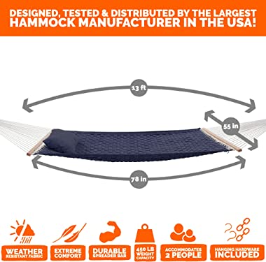 Castaway Living 13 ft. Large Navy Soft Weave Hammock with Free Pillow, Storage Bag, Extension Chains & Tree Hooks, Accomm