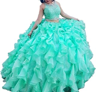 Women's Crystal Ball Gown 2 Pieces Pageant Quinceanera Dresses