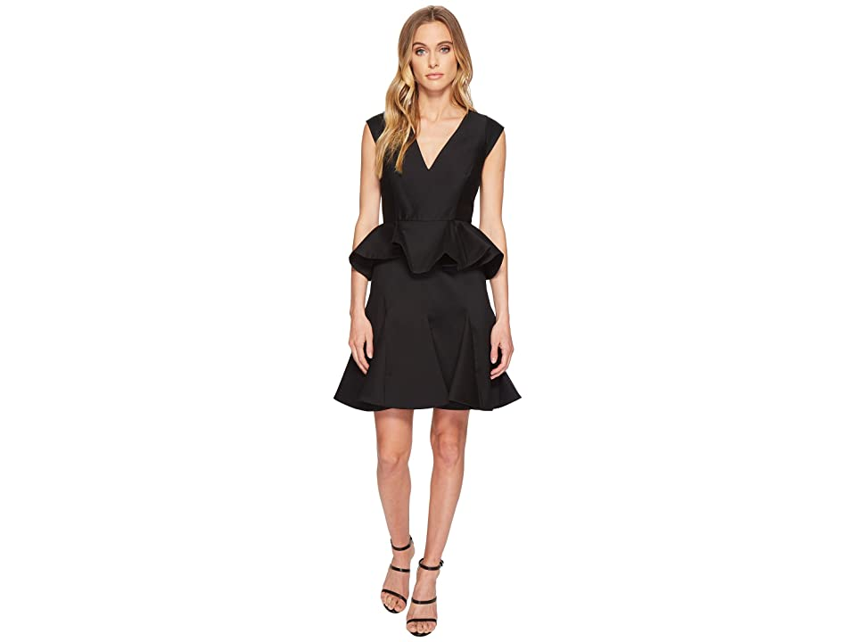 Halston Heritage Cap Sleeve V-Neck Dress w/ Peplum (Black) Women