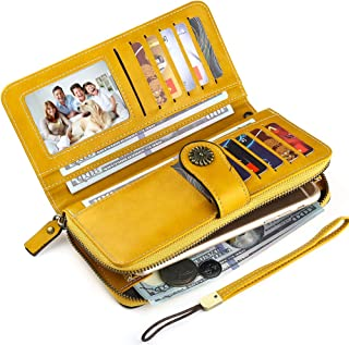 Buvelife Women Retro Credit Card Wallet RFID Blocking Card Holder Retro Leather Large Long Purse
