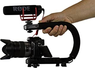 Cam Caddie Scorpion Jr Stabilizing Camera Handle for DSLR and GoPro Action Cameras - Professional Handheld U/C-Shaped Grip with Integrated Accessory Shoe Mount for Microphone or LED Video Light - Includes: Smartphone / GoPro Adapters and 1/4-20 Threaded Mounting Knob - Black