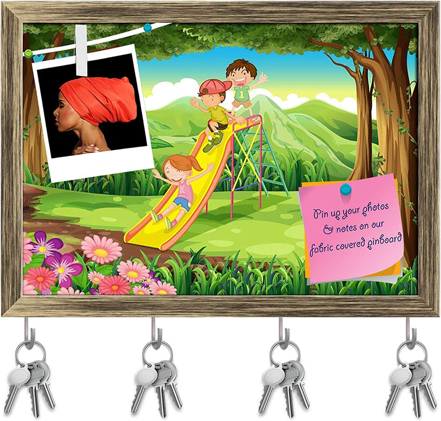 Artzfolio Kids Sliding at The Forest Key Holder Hooks   Notice Pin Board   Antique golden Frame 14.1 X 10Inch