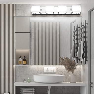 Tipace 4 Lights LED Modern Vanity Light Chrome Bathroom Lighting Fixture Up and Down Bathroom Wall Light Over Mirror(White Li