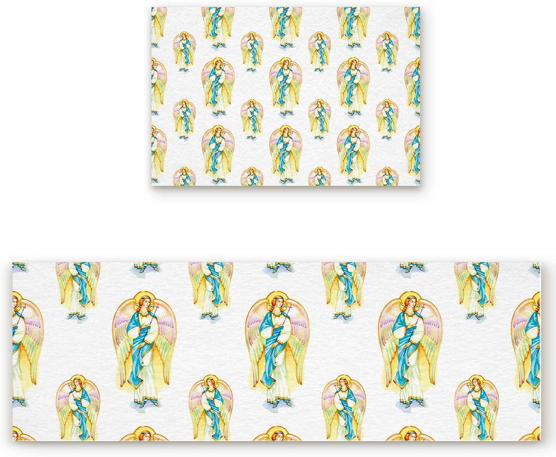 2 Piece Non-Slip Kitchen Bathroom Entrance Mat Absorbent Durable Floor Doormat Runner Rug Set - Angel