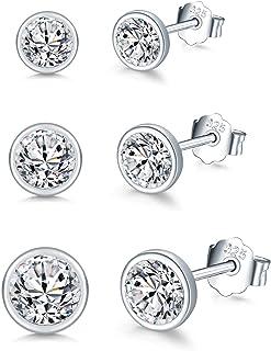 Aruie Ohrstecker 925 Sterling Silber schwarz Zirkonia Hohl Cercle Dreieck Geomatisch Charm asymmetrisch Tropfen Ohrringe Schmuck f/ür M/ädchen Frauen