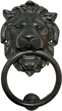 Regency Lions Head Door Knocker, Solid Brass, H:7 inch, Black, Oxide Finish