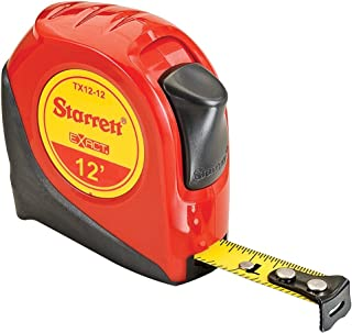 Starrett Exact KTX12-12-N ABS Plastic Case Red Measuring Pocket Tape, English Graduation Style, 12' Length, 0.5