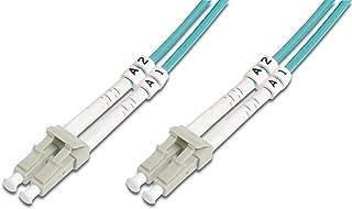 DIGITUS LWL Patch Kabel OM3   15 m LC auf LC Glasfaser Kabel   LSZH   Duplex Multimode 50/125µ   10 GBit/s   Türkis