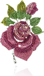Spring Full Bloomed Rose Brooch Pin with Green Leaves Embellished with Rhinestones