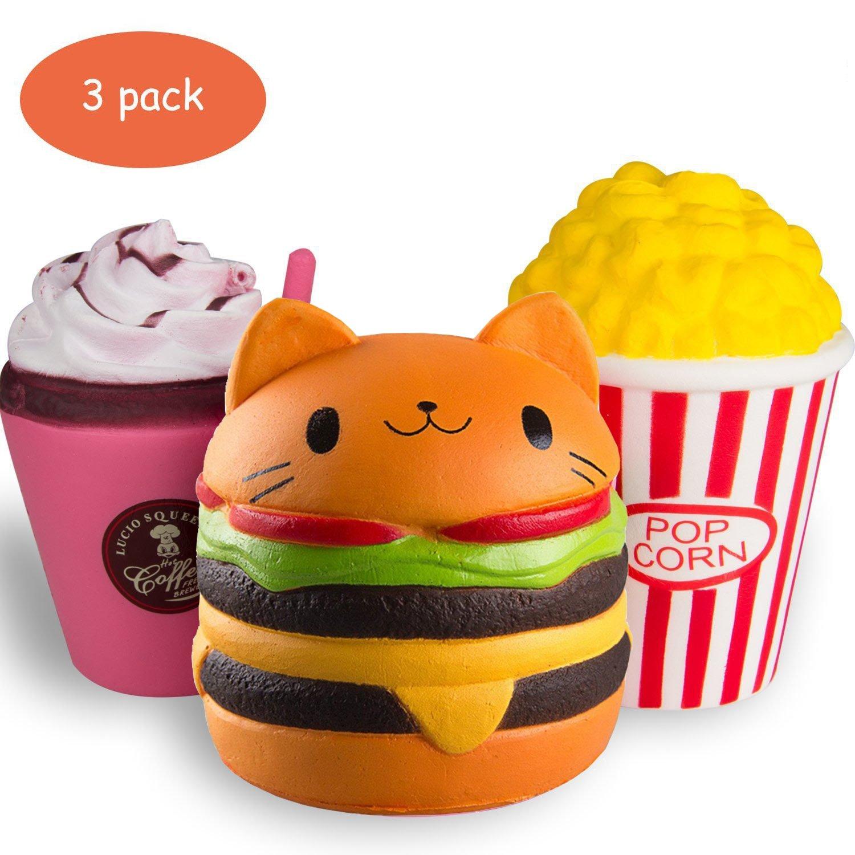 ZhengYue Squishy Kawaii Grandes Juguete Niños Squeeze Popcorn Hamburguesa Café Squishy Slow Rising Pack Descompresión Juguetes Compresivos: Amazon.es: Juguetes y juegos