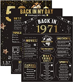 """Homanga 50th Birthday/Anniversary Poster, 3 Pieces 11""""x 14"""" Back In 1971 Sign, 50 Years Party/Wedding/Anniversary Decoration Supplies, 50th Gifts for Women and Men"""