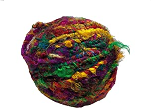 KNITSILK Recycled Sari Silk Yarn - Bulky Yarn - Multicolor (100 Grams) | Great for Knitting, Crochet