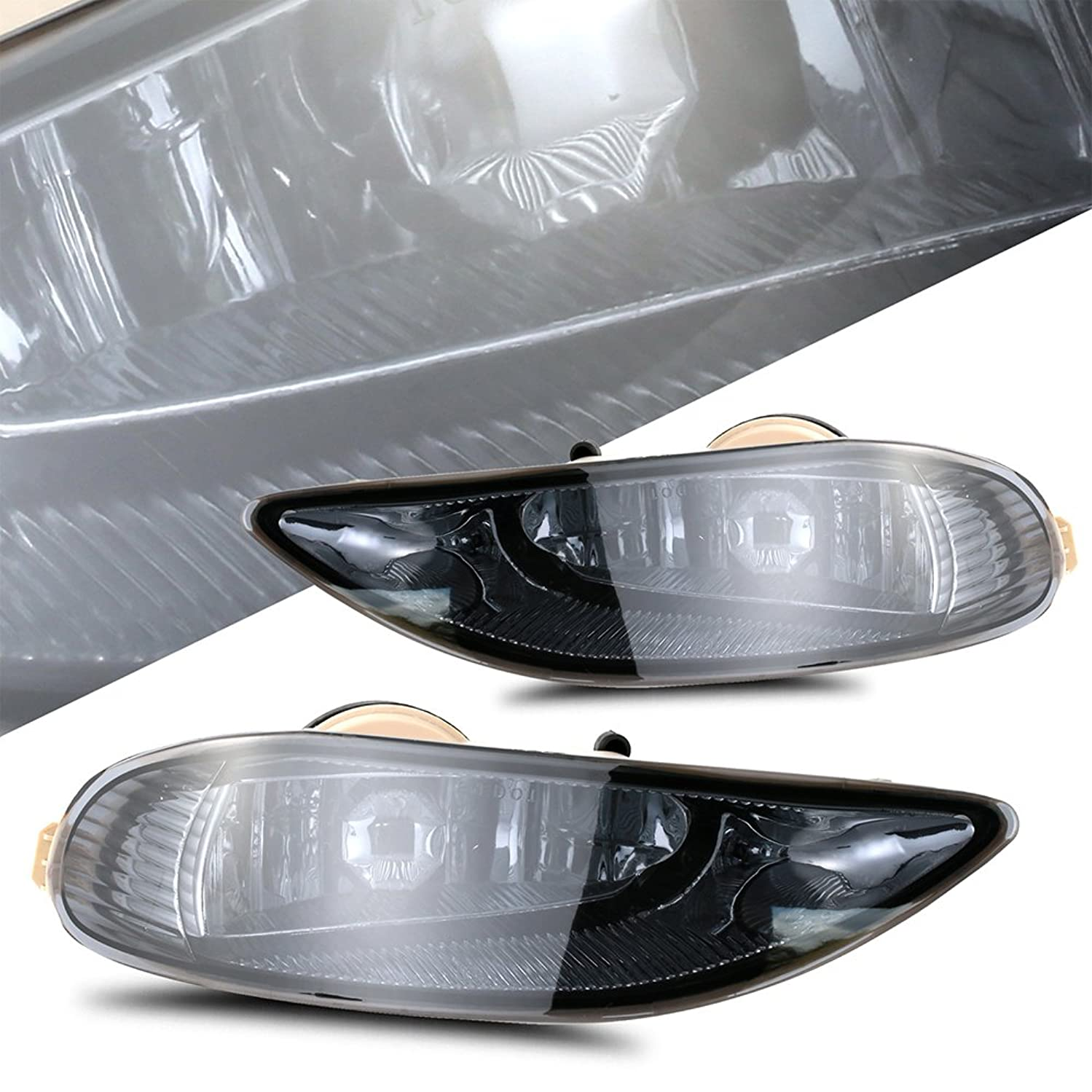 Scitoo Smoke Bumper Fog Light Assembly Lamp fit 2002 2003 2004 TOYOTA CAMRY OE/REPLACEMENT FOG LAMP In Pair(WIRING KIT INCLUDED)