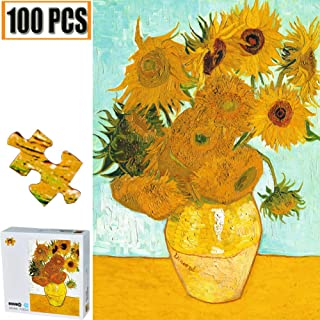 100 Pieces Jigsaw Puzzles Puzzles for Adults Van Gogh Artwork Art for Teen Adult Grown Up Puzzles Large Size Toy Educational Games Gift 100 PCS Home Decor (Sunflowers Van Gogh)